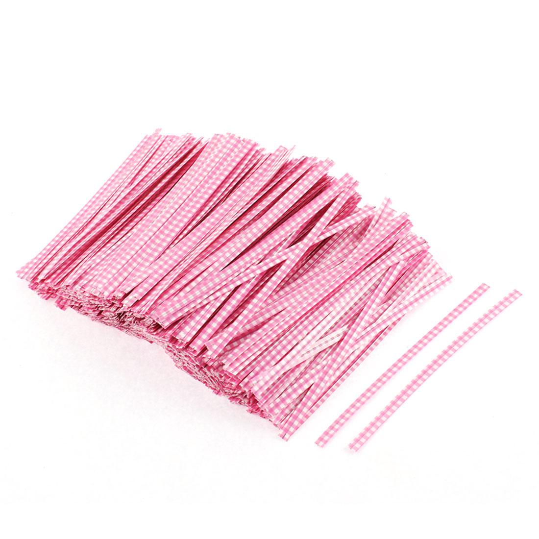 Grid Pattern Gift Candy Bags Packaging Twist Ties Pink 1200PCS