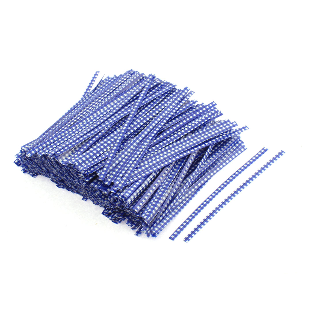 Metallic Grid Pattern Candy Bags Packaging Twist Ties Blue White 1200PCS