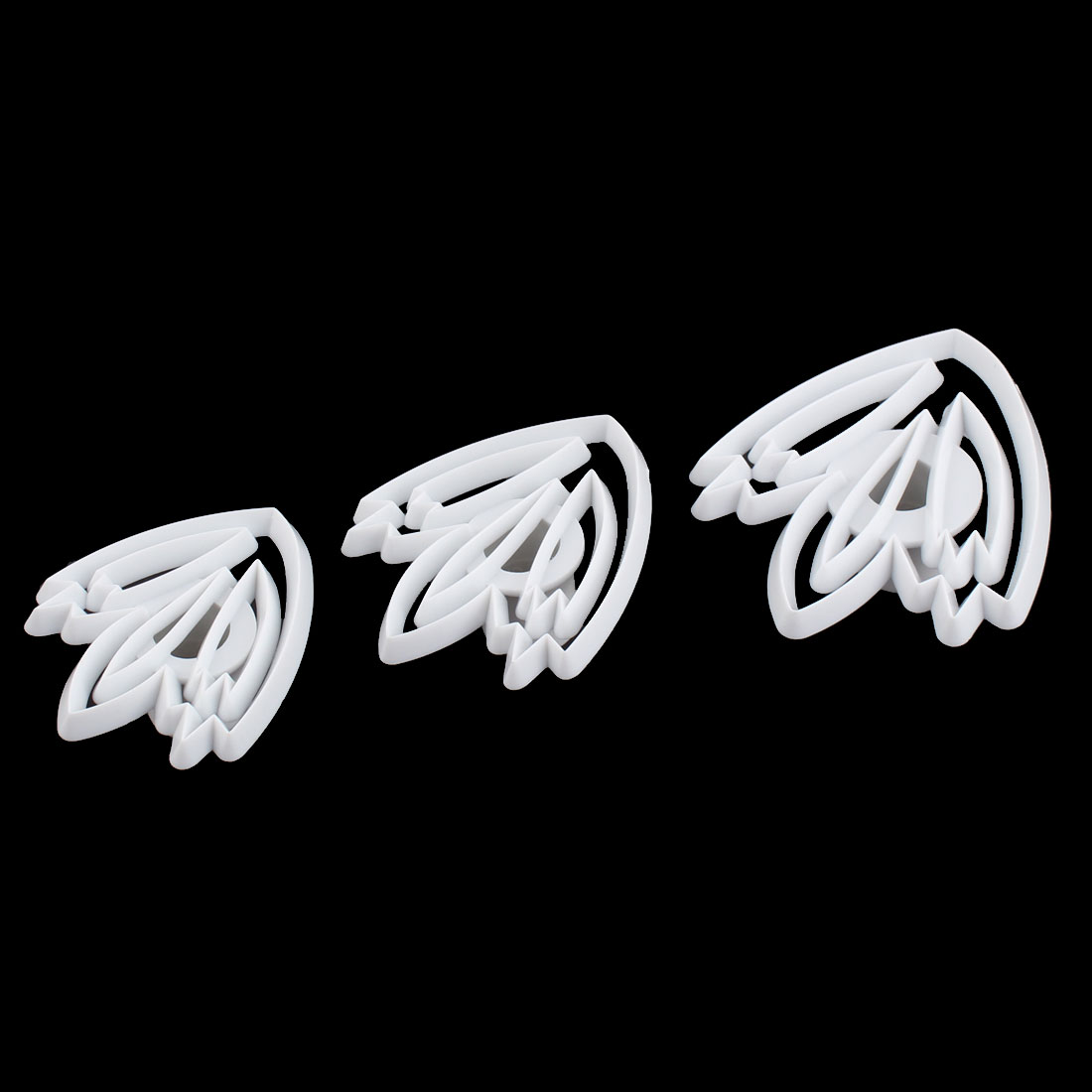 Tulip Flower Shape DIY Cake Cookies Decorating Cutter Plastic Baking Molds Embossing Tool 3 in 1