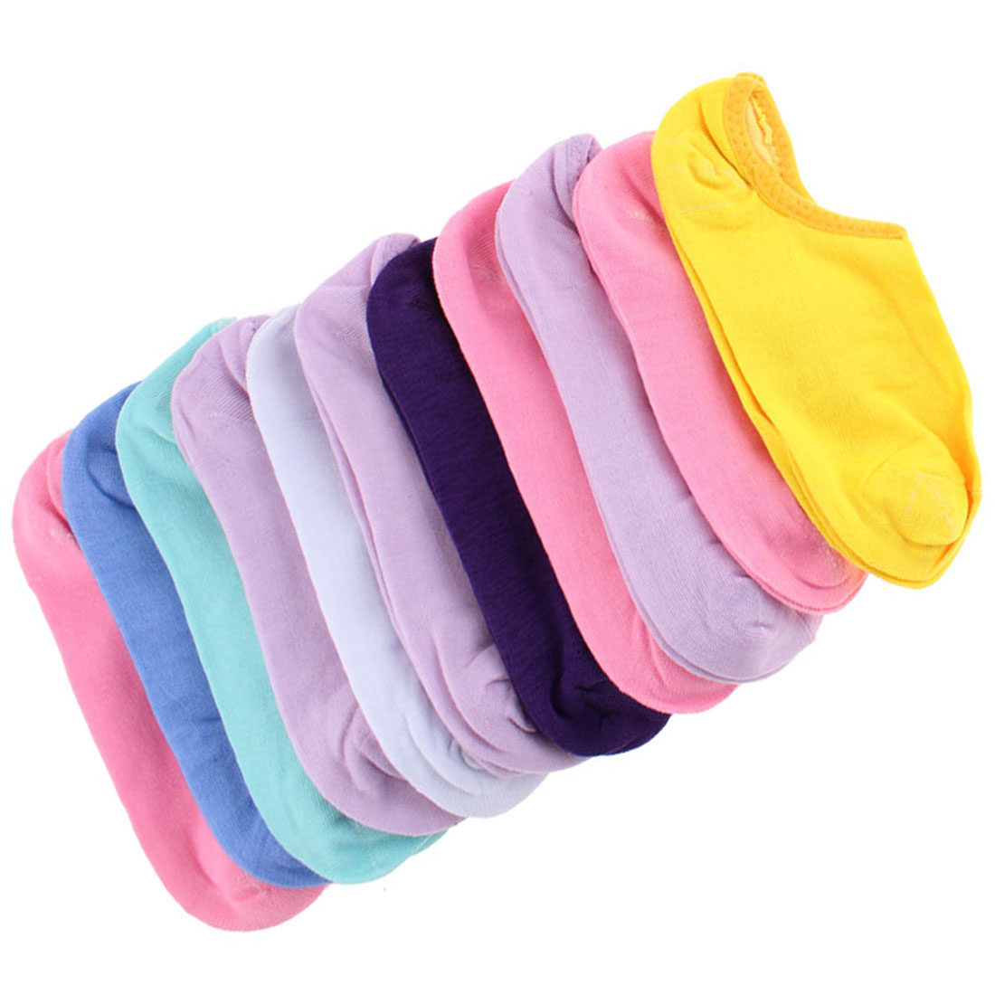 Lady Cotton Blends Pure Pattern Elastic Low Cut Boat Socks Multicolor 12 Pairs