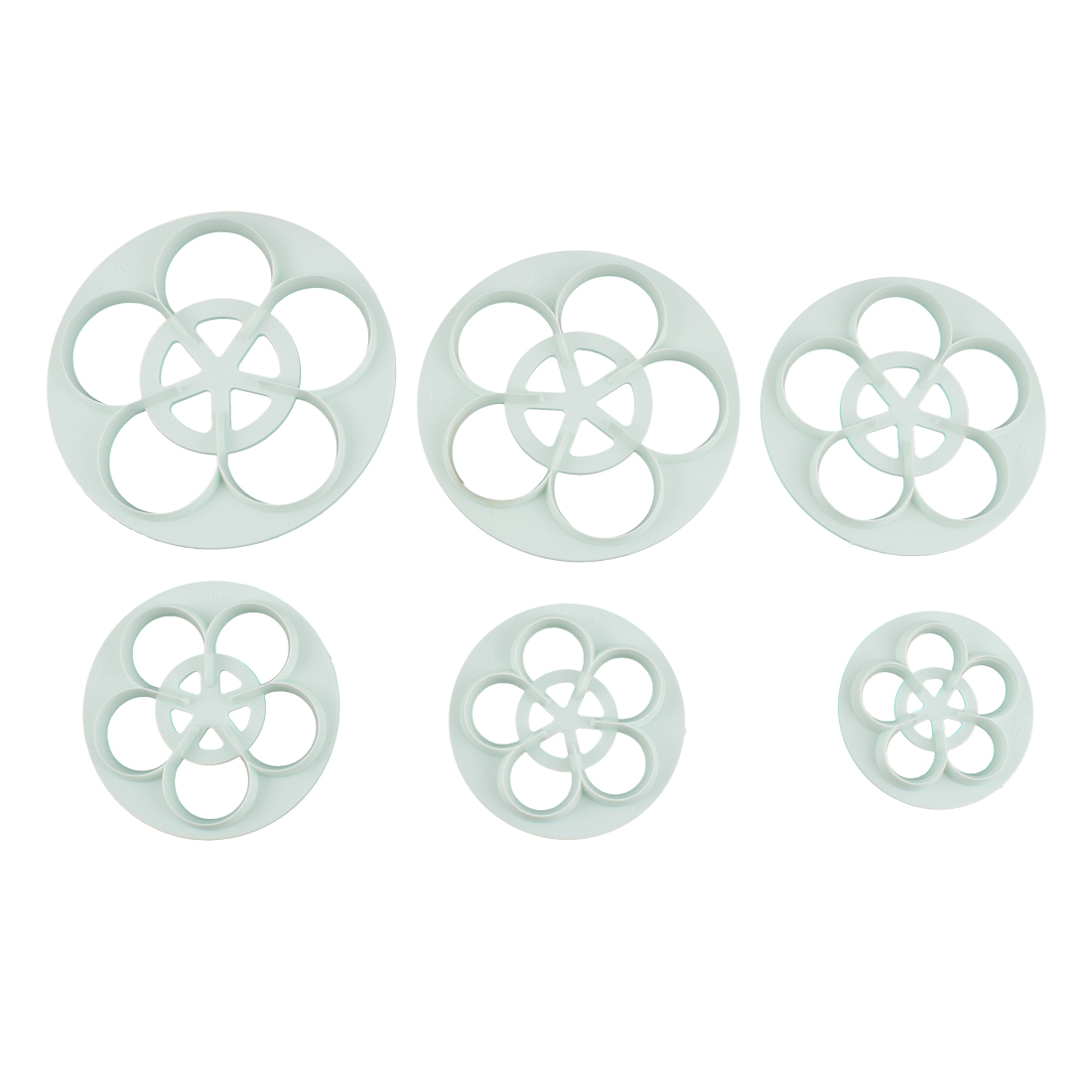 Flower Shape DIY Cake Cookies Decorating Cutter Plastic Baking Molds Embossing Tool Set 6 in 1