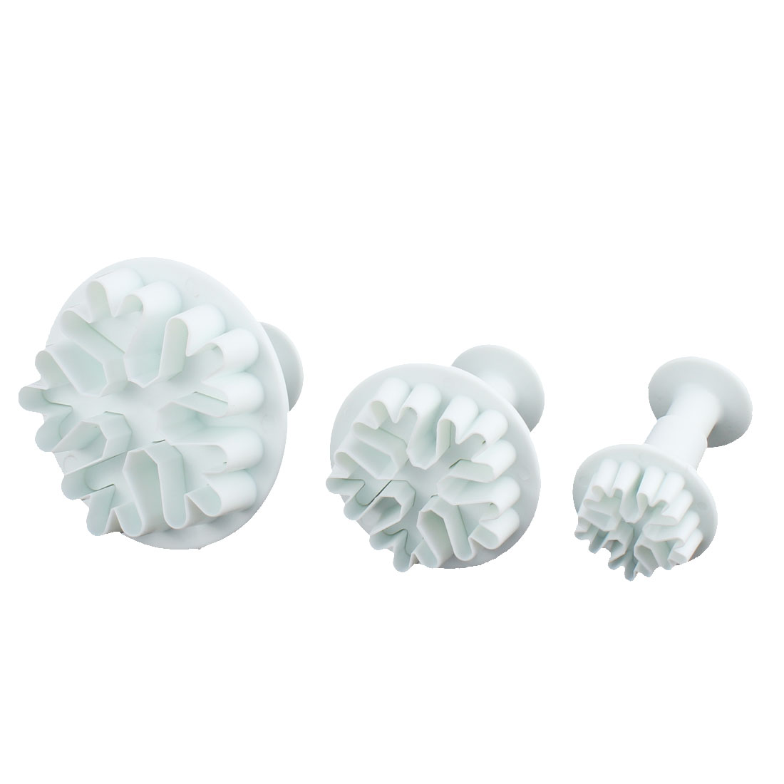 Snowflake Shaped Fondant Cake Decorating Mold Mould Plunger Cutter 3 in 1