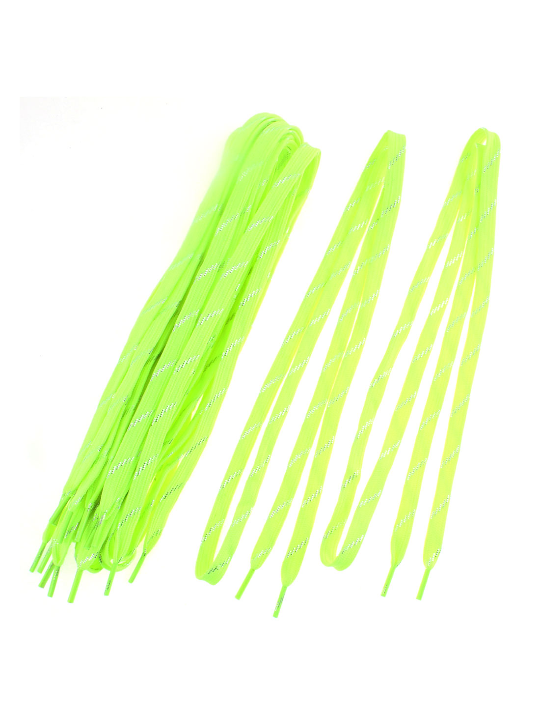 Sneakers Glittery Stripe Pattern Dual Layer Shoestring Shoelaces Fluorescent Yellow 5 Pairs