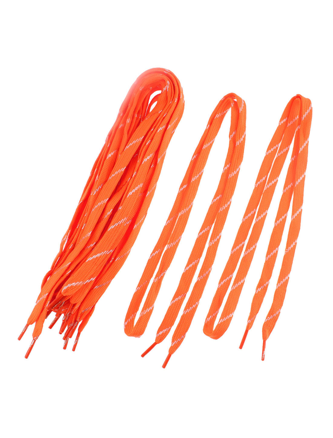 Sneakers Glittery Stripe Pattern Dual Layer Shoestring Shoelaces Orangered 5 Pairs