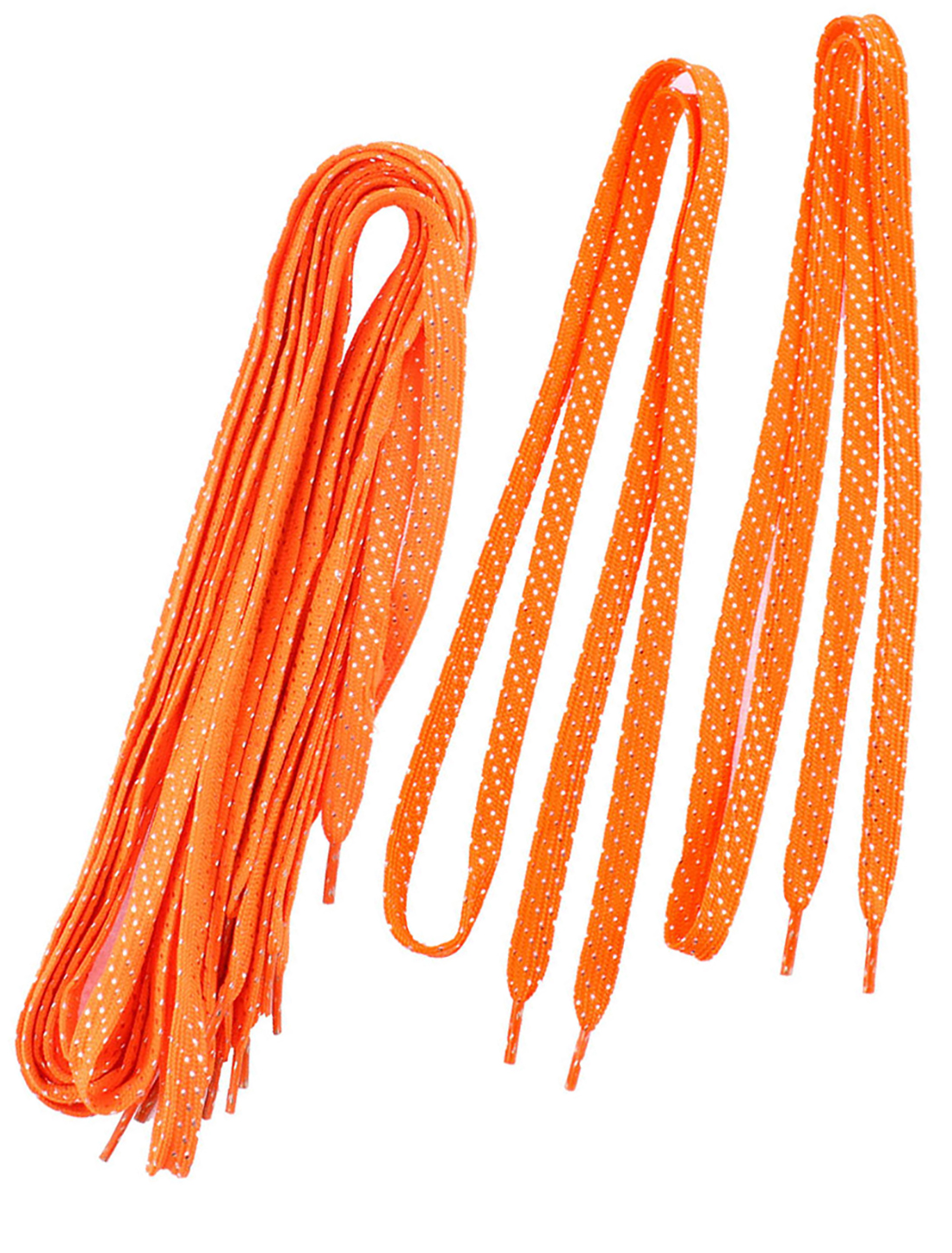 Sneakers Glitter Tinsel Design Cotton Blend Flat Shoelaces Orangered 5 Pairs