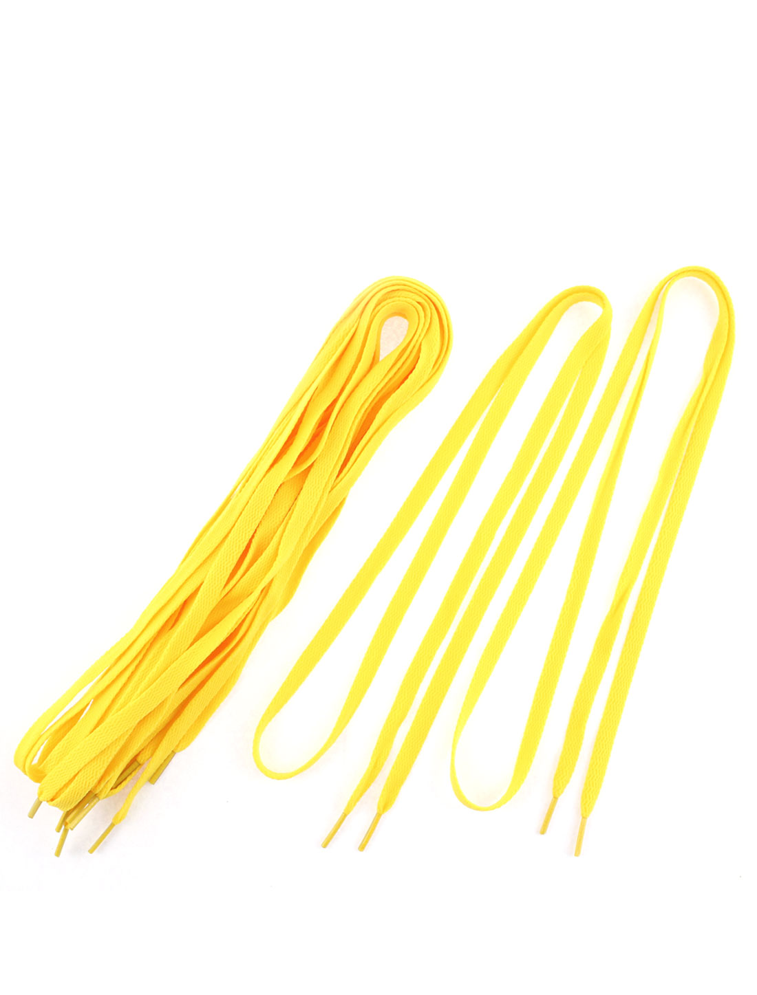 "Athletic Sports Sneaker Flat Shoelace Strings Yellow 43"" Length 5 Pairs"