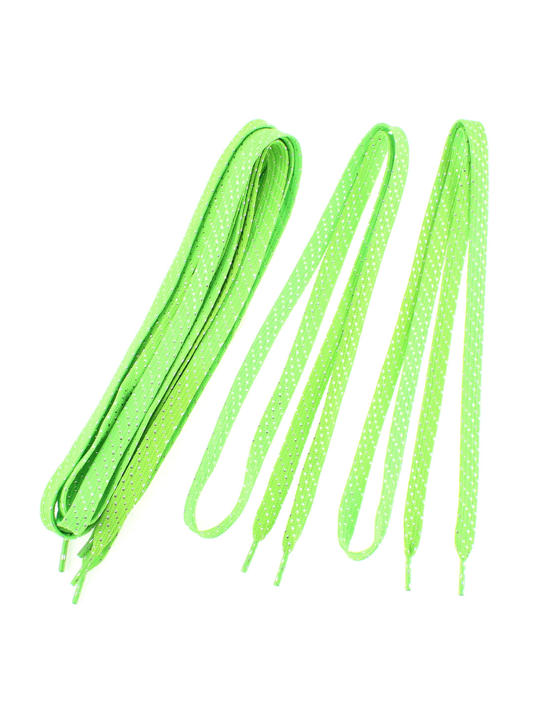 Sneakers Sport Shoes Cotton Blend Flat Shoestring Shoelaces Green 3 Pairs