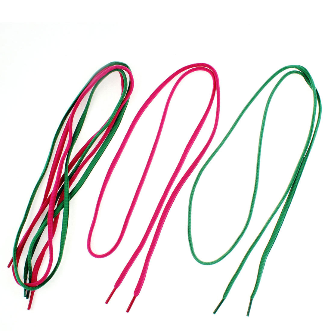 Shoes String Shoelaces Dark Green Fuchsia 2 Pairs