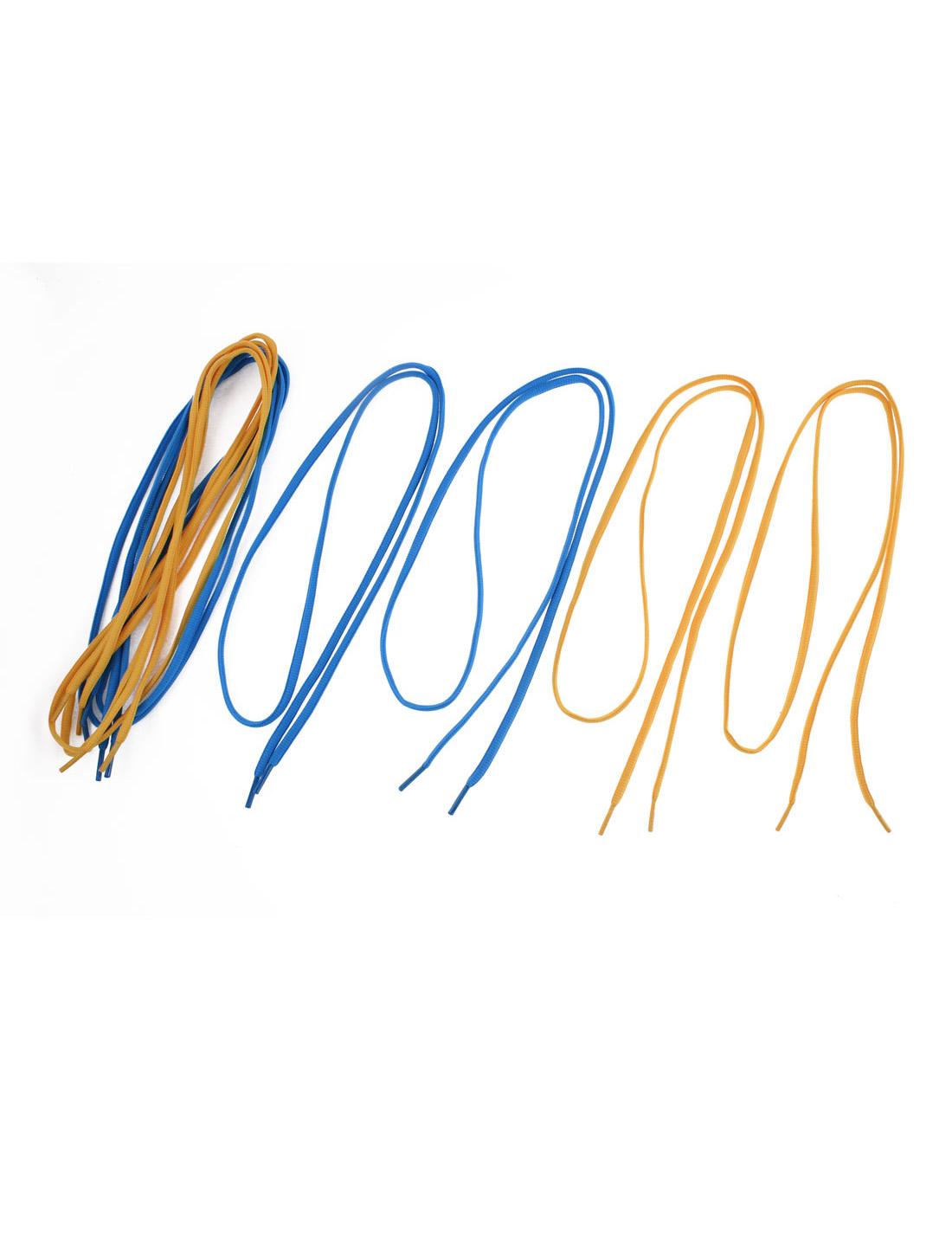 Athletic Sports Sneaker Shoelace Strings Blue Orange 4 Pairs