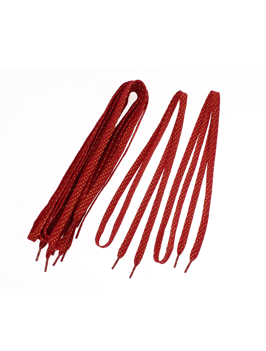 Leisure Shoes Glitter Tinsel Design Flat Shoelaces Red 108cm Length 5 Pairs