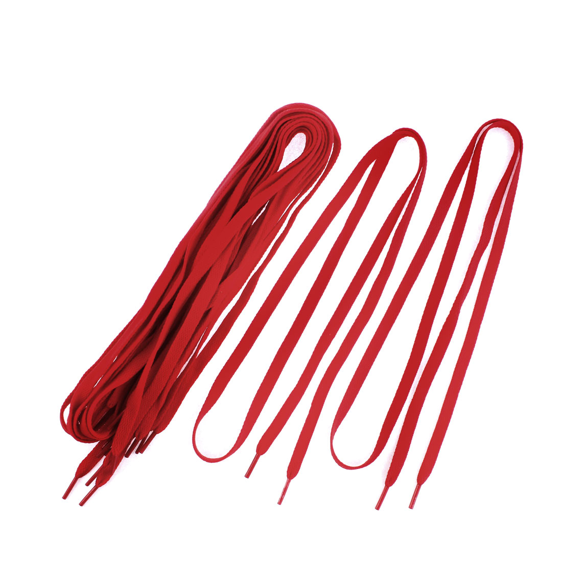 "Athletic Sports Sneaker Flat Shoelace Strings Red 43"" Length 5 Pairs"