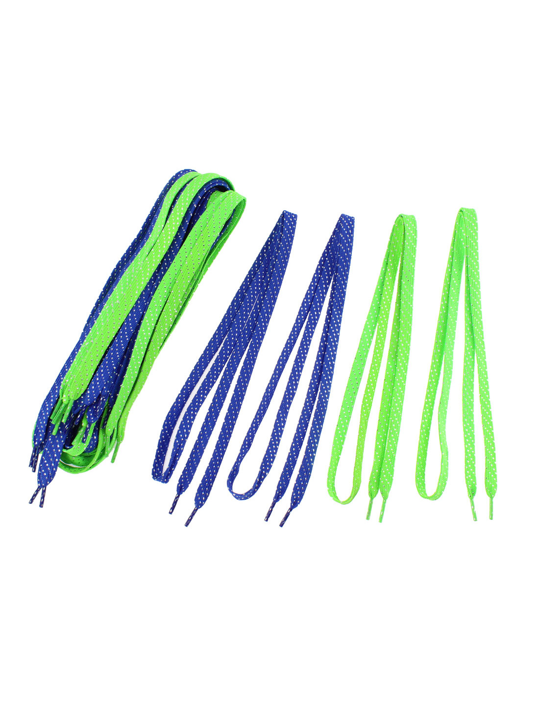 Sports Leisure Shoes Cotton Blend Flat Shoestring Shoelaces Green Blue 10 Pairs