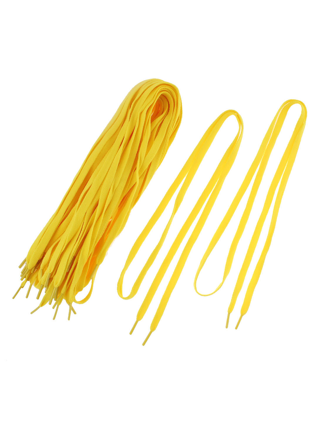 Athletic Sports Sneaker Flat Shoelace Strings Yellow 10 Pairs