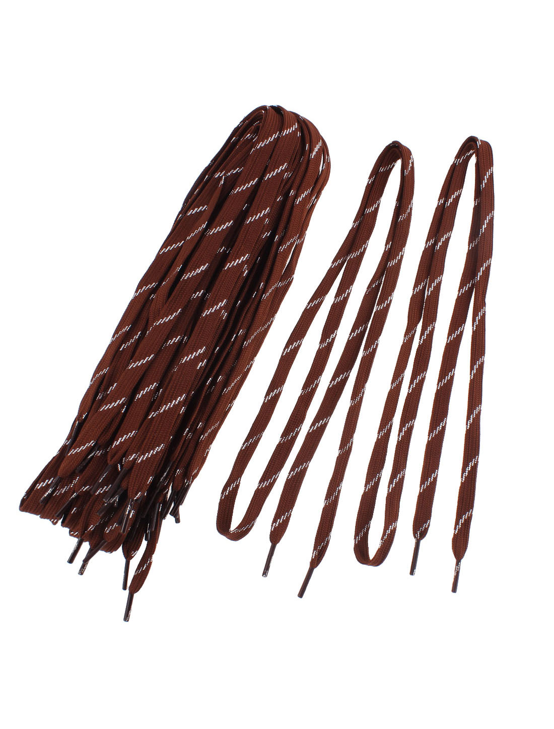 Sports Leisure Shoes Cotton Blend Flat Shoestring Shoelaces Chocolate Color 10 Pairs