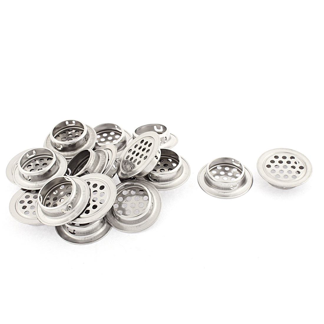 Cabinet Metal Flat Round Shaped Mesh Hole Air Vent Louver 35mm 18 Pcs