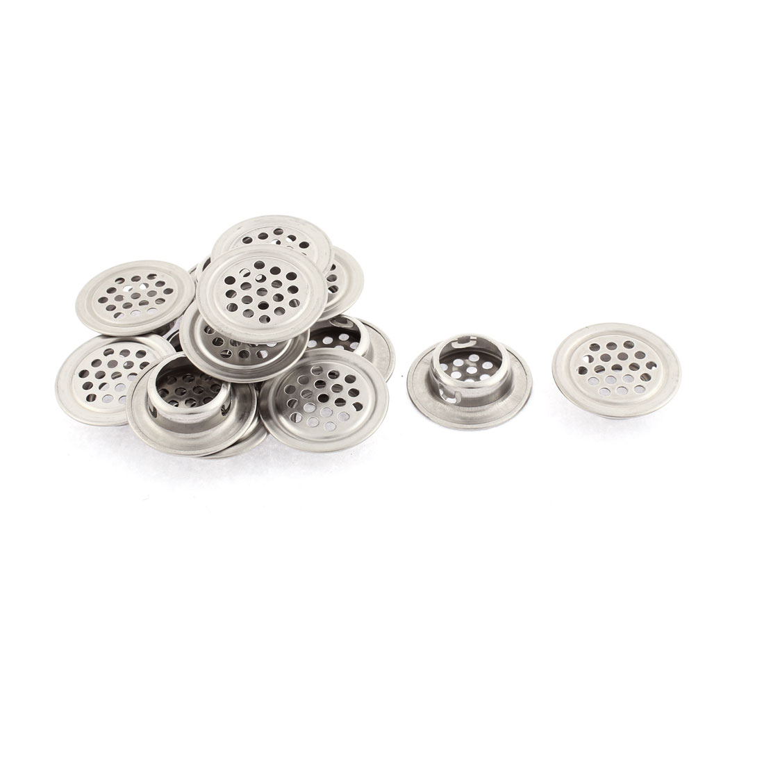 Metal Round Design Perforated Mesh Air Vents Louvers Silver Tone 30mm Dia 14pcs