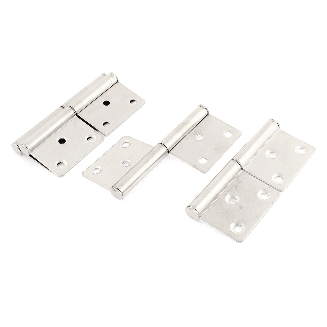 Cupboard Door 360 Degree Rotating Flag Hinges Silver Tone 100mm Long 4 Pcs