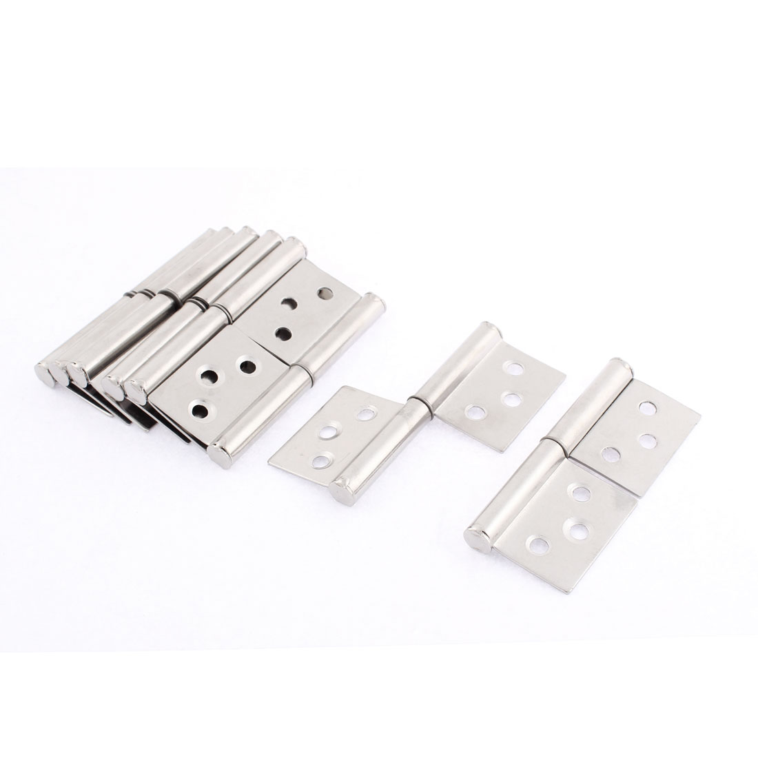 Cupboard Door 360 Degree Rotating Flag Hinges Silver Tone 3 Inch Long 8 Pcs