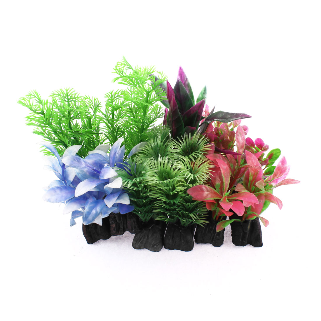Aquarium Plastic Artificial Aquatic Plant Decor Assorted Colors 12 in 1