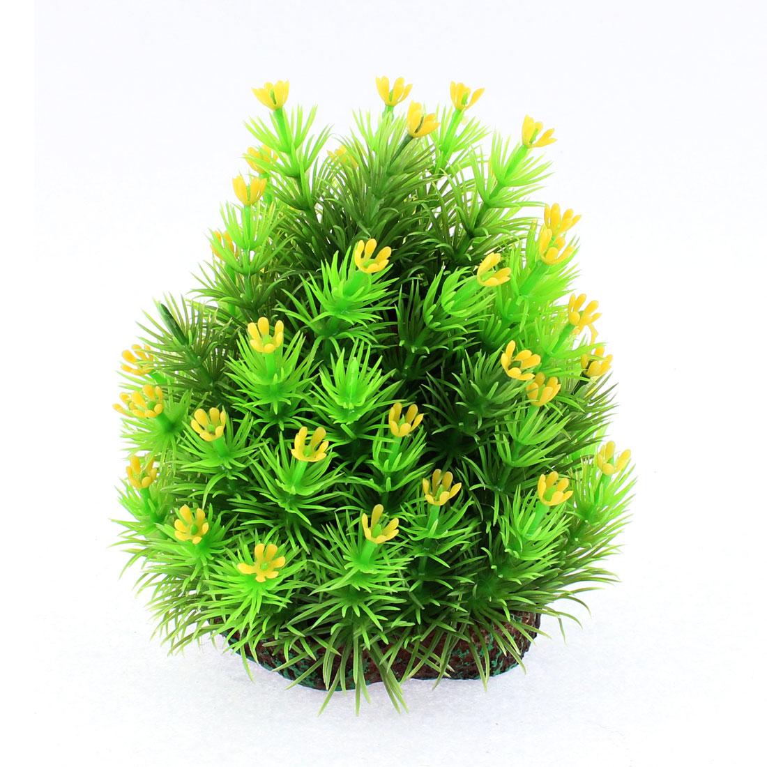 Aquarium Fishbowl Plastic Imitated Underwater Plant Grass Adornment Green Yellow