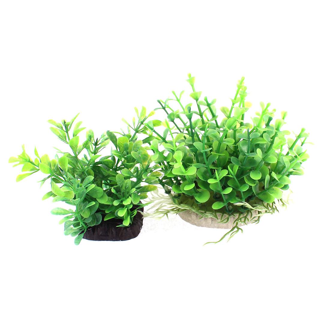 Aquarium Ceramic Base Plastic Water Plants Grass Adornment Green 2 Pcs