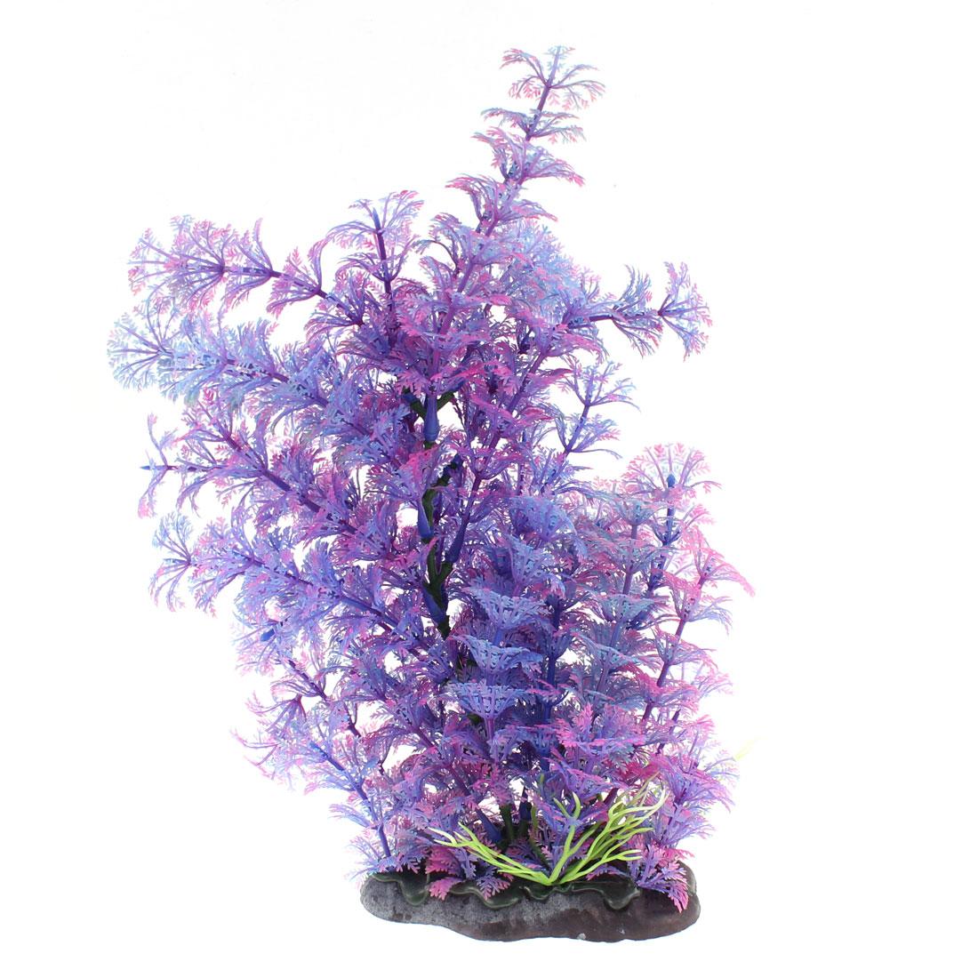 Aquarium Plastic Artificial Underwater Plant Decor Purple 23cm Height