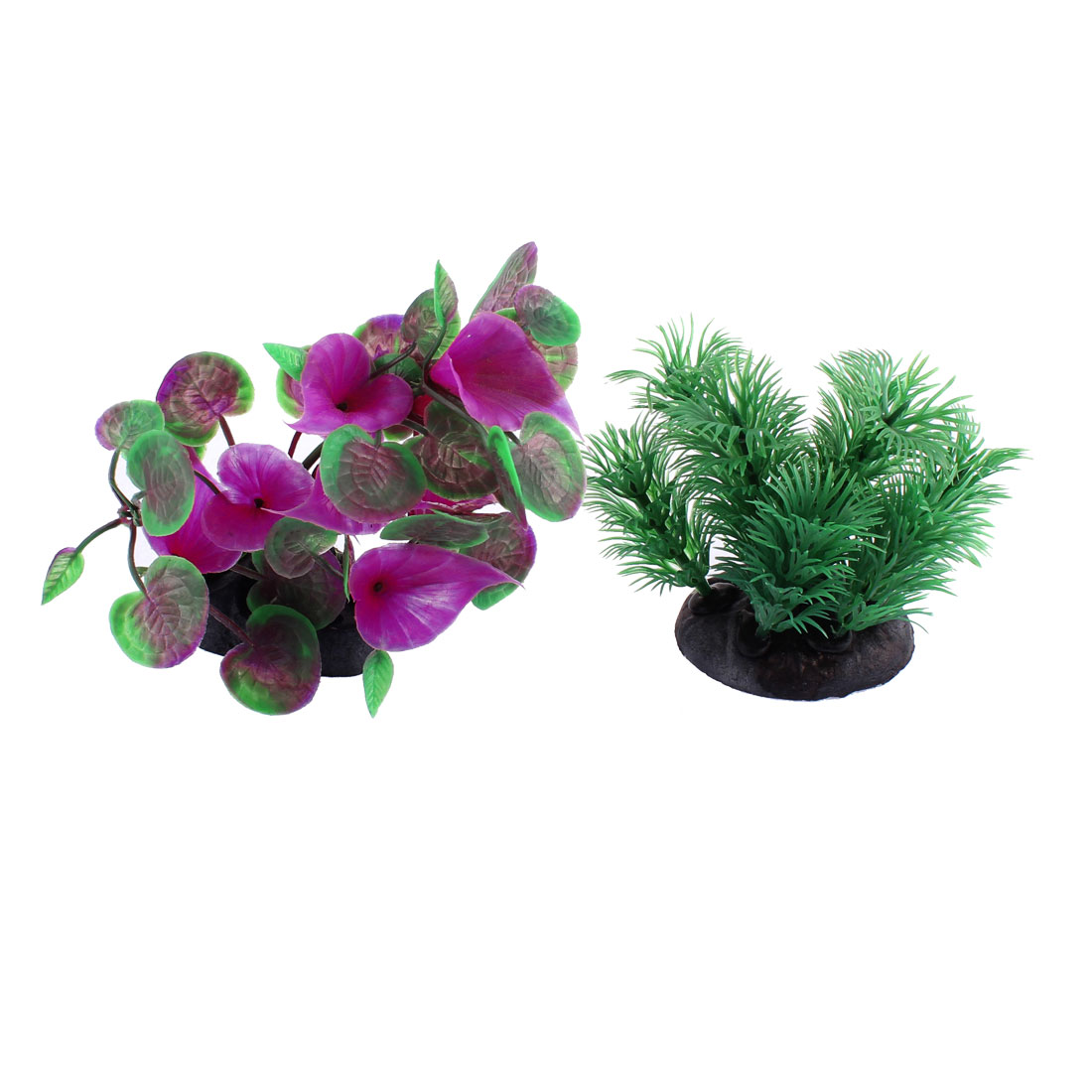 Aquarium Fishbowl Plastic Emulational Water Plant Grass Purple Green 2 Pcs