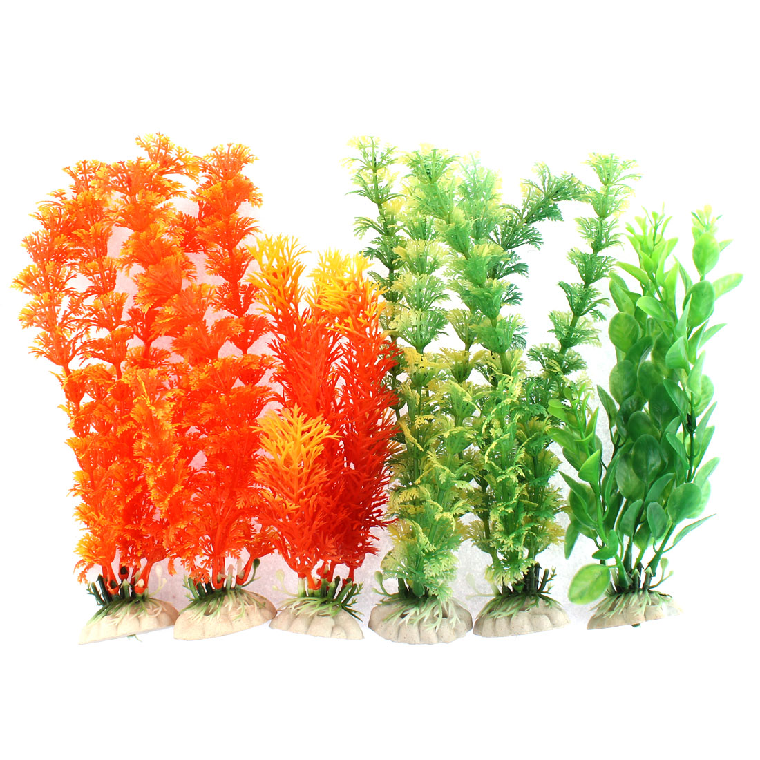 Aquarium Plastic Artificial Aquatic Plant Decor 6 in 1