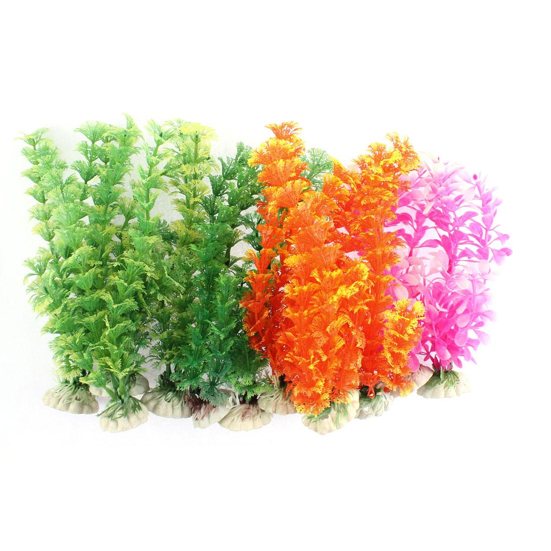 Aquarium Artificial Grass Plant Decor Multicolor 12 in 1