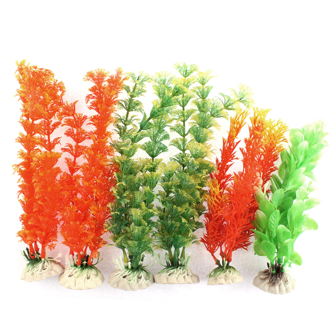 Aquarium Aquascaping Plastic Artificial Water Plant Decor 6 in 1