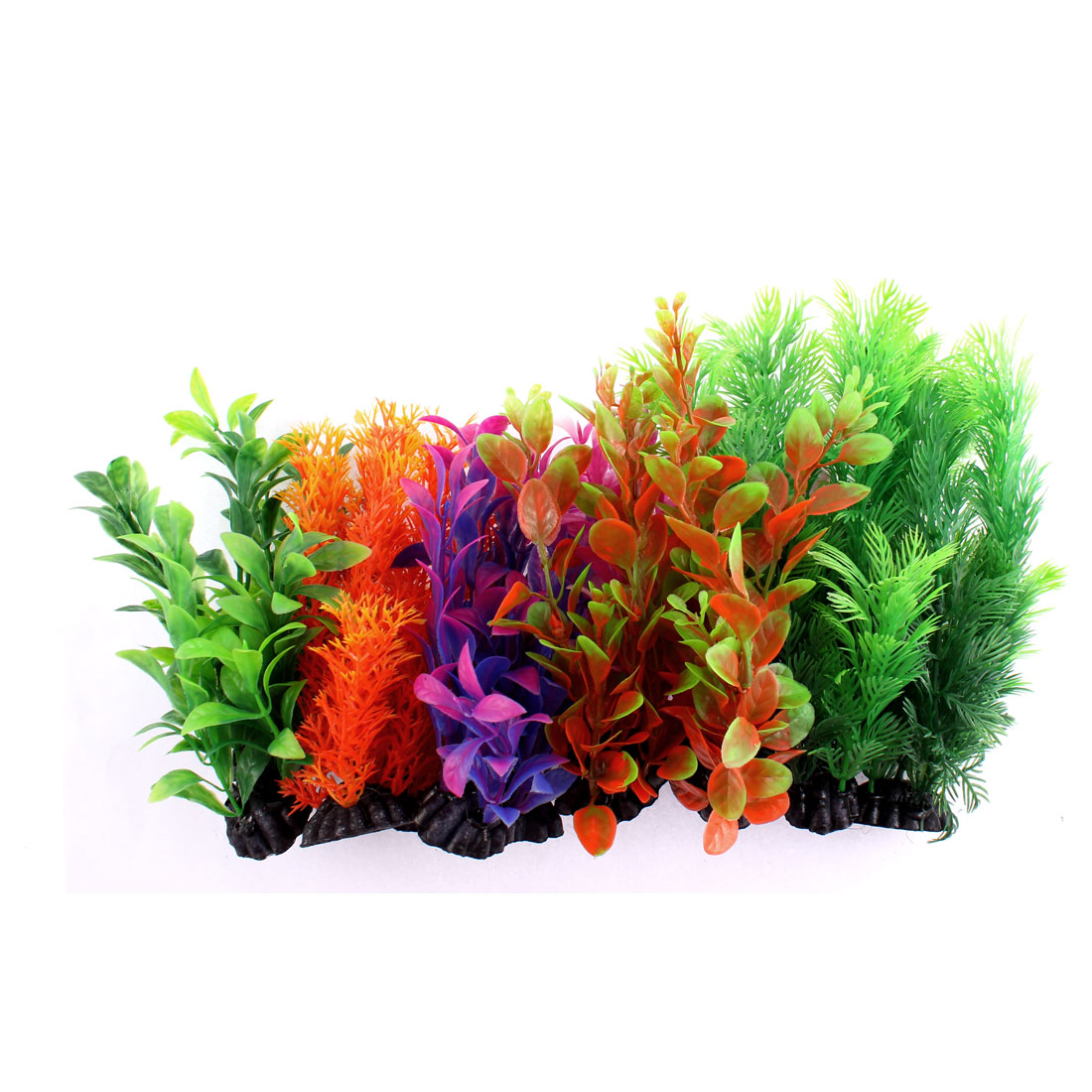 Aquarium Plastic Artificial Water Plants Decoration Assorted Colors 12 in 1