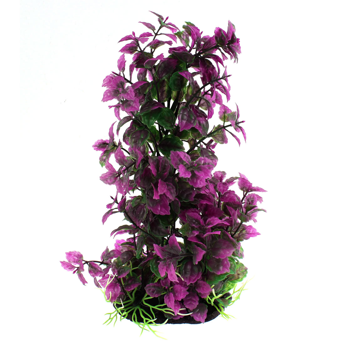 "Aquarium Plastic Manmade Plant Decor Dark Green Purple 9"" High"