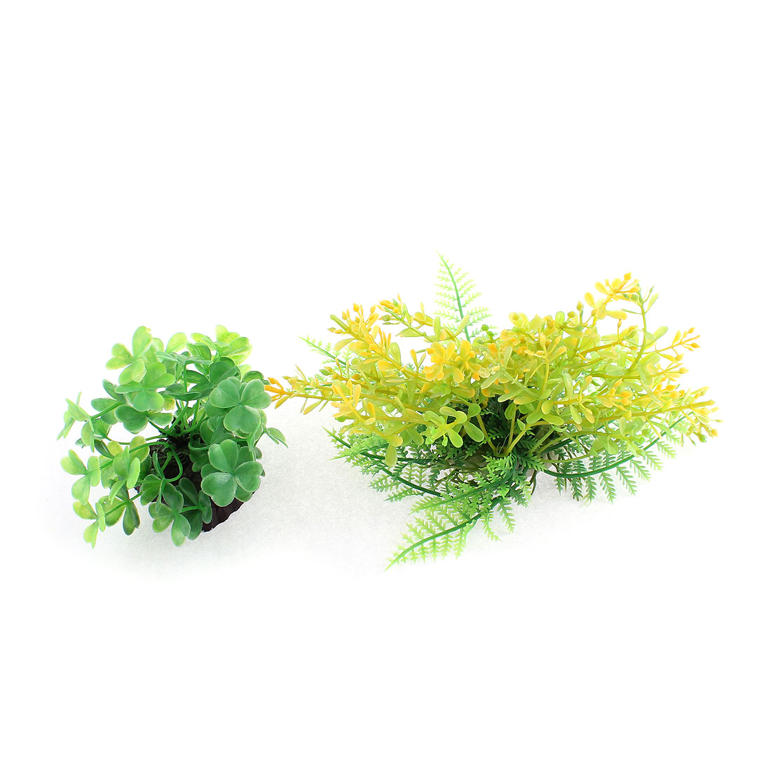 Aquarium Ceramic Base Plastic Simulation Water Plant Grass Decoration 2pcs
