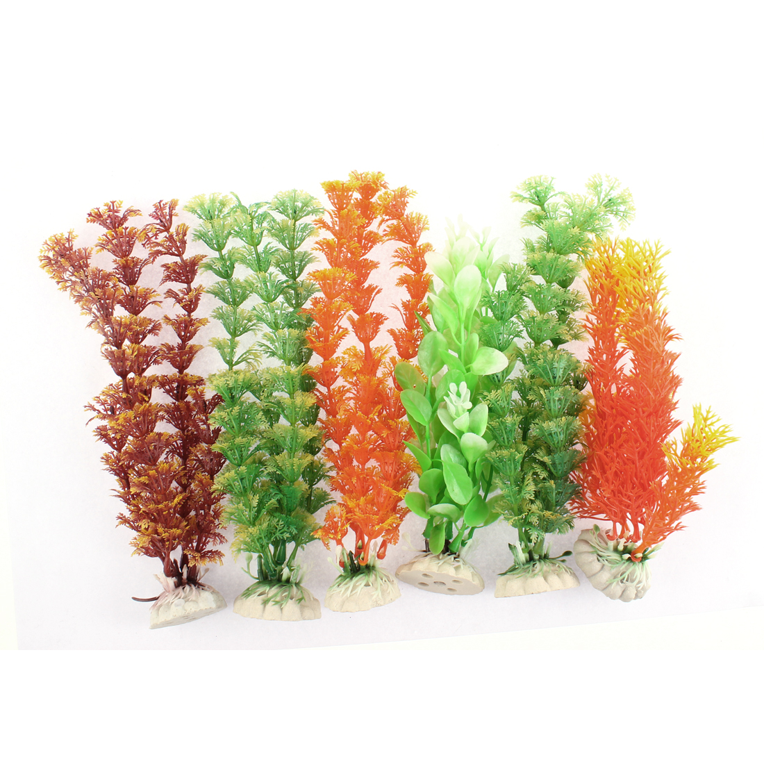 Aquarium Aquascaping Plastic Emulational Water Plant Decor 6 in 1