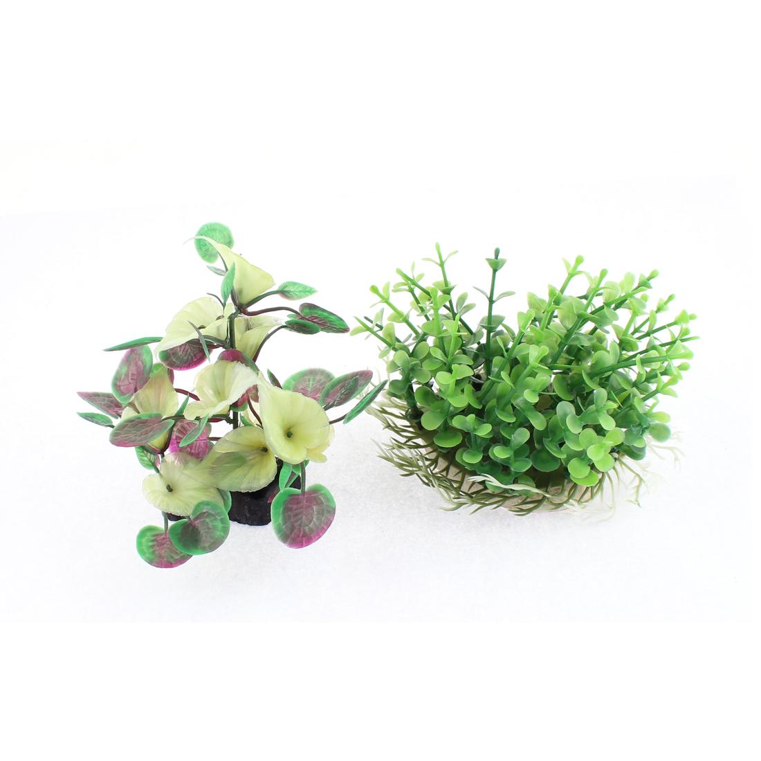 Aquarium Fishbowl Plastic Imitated Plant Grass Landscape Adornment 2 Pcs
