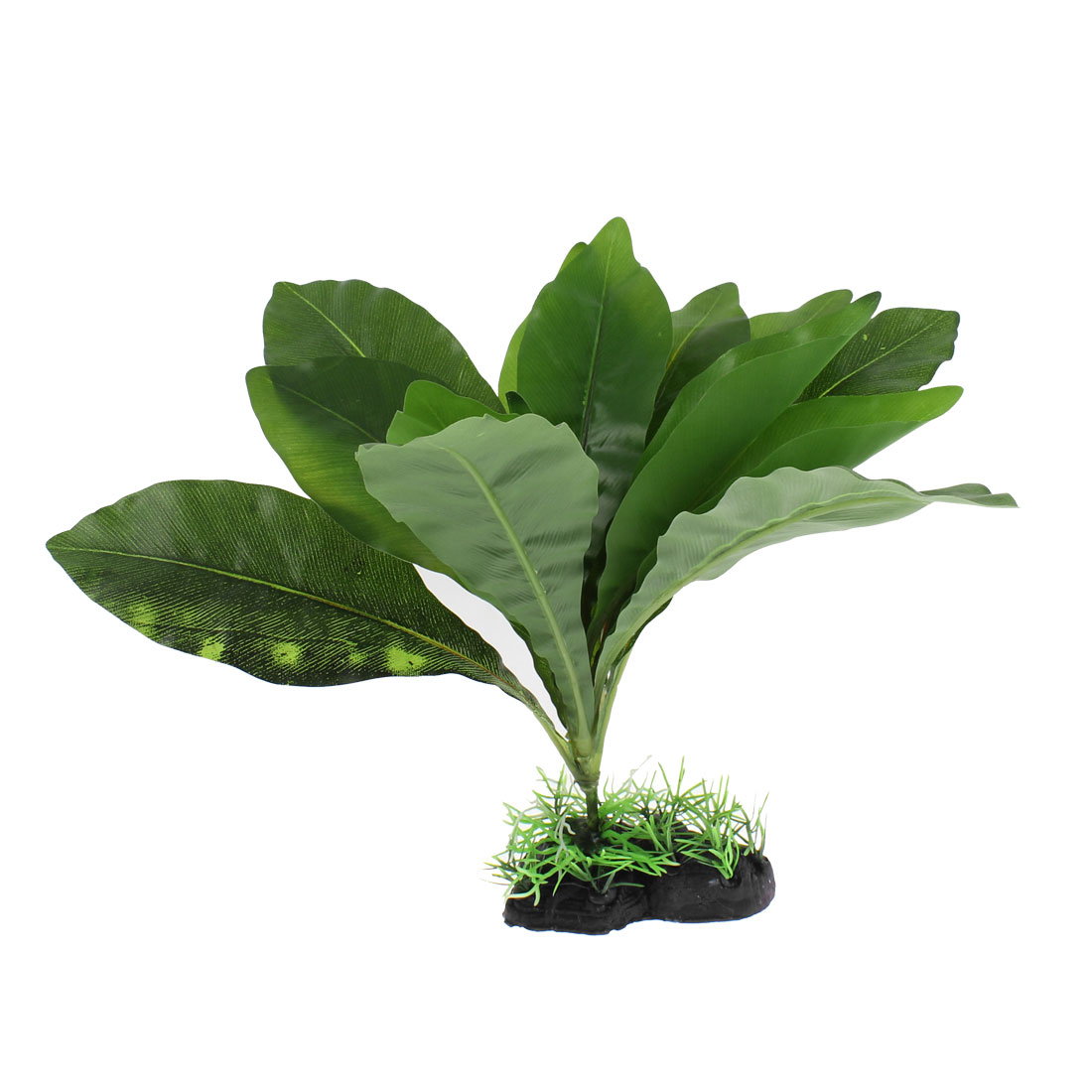 "Aquarium Plastic Artificial Sword Leaf Plant Decor Green 11"" Height"