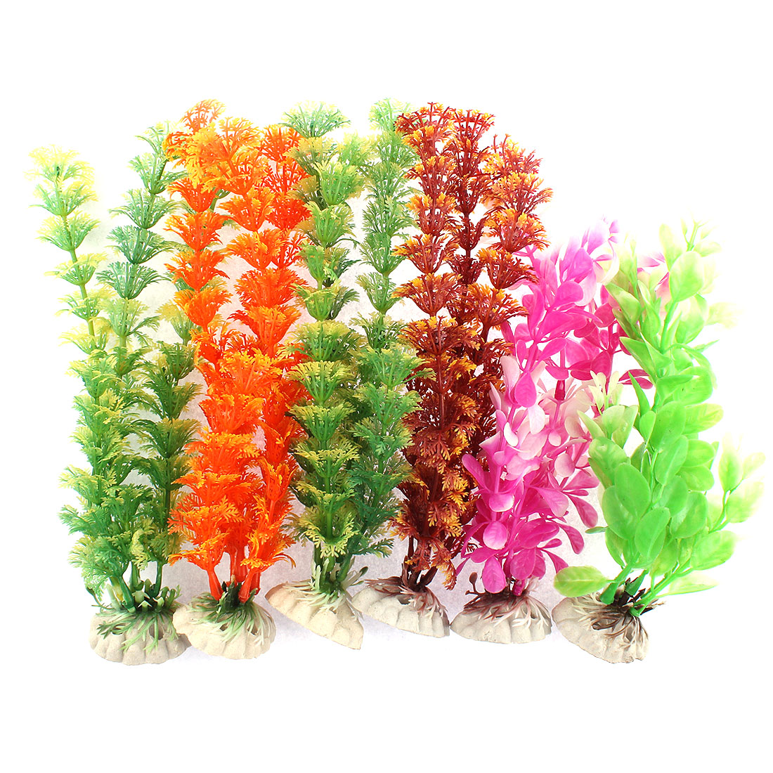 Aquarium Plastic Simulated Water Plant Adornment Multicolor 6 in 1