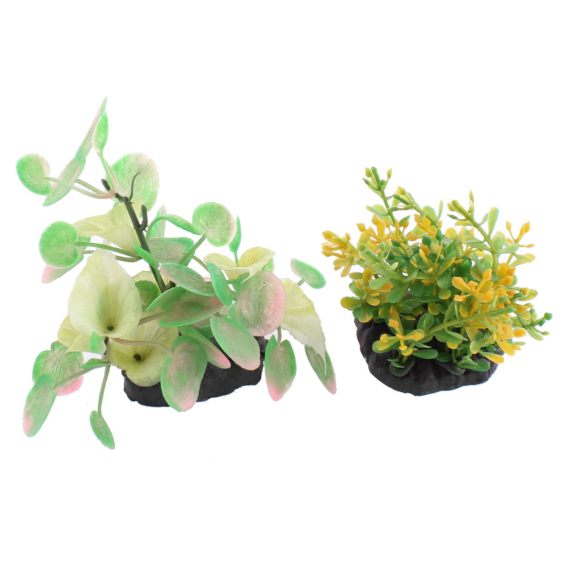 Fish Tank Plastic Emulational Water Plant Decoration 2 in 1
