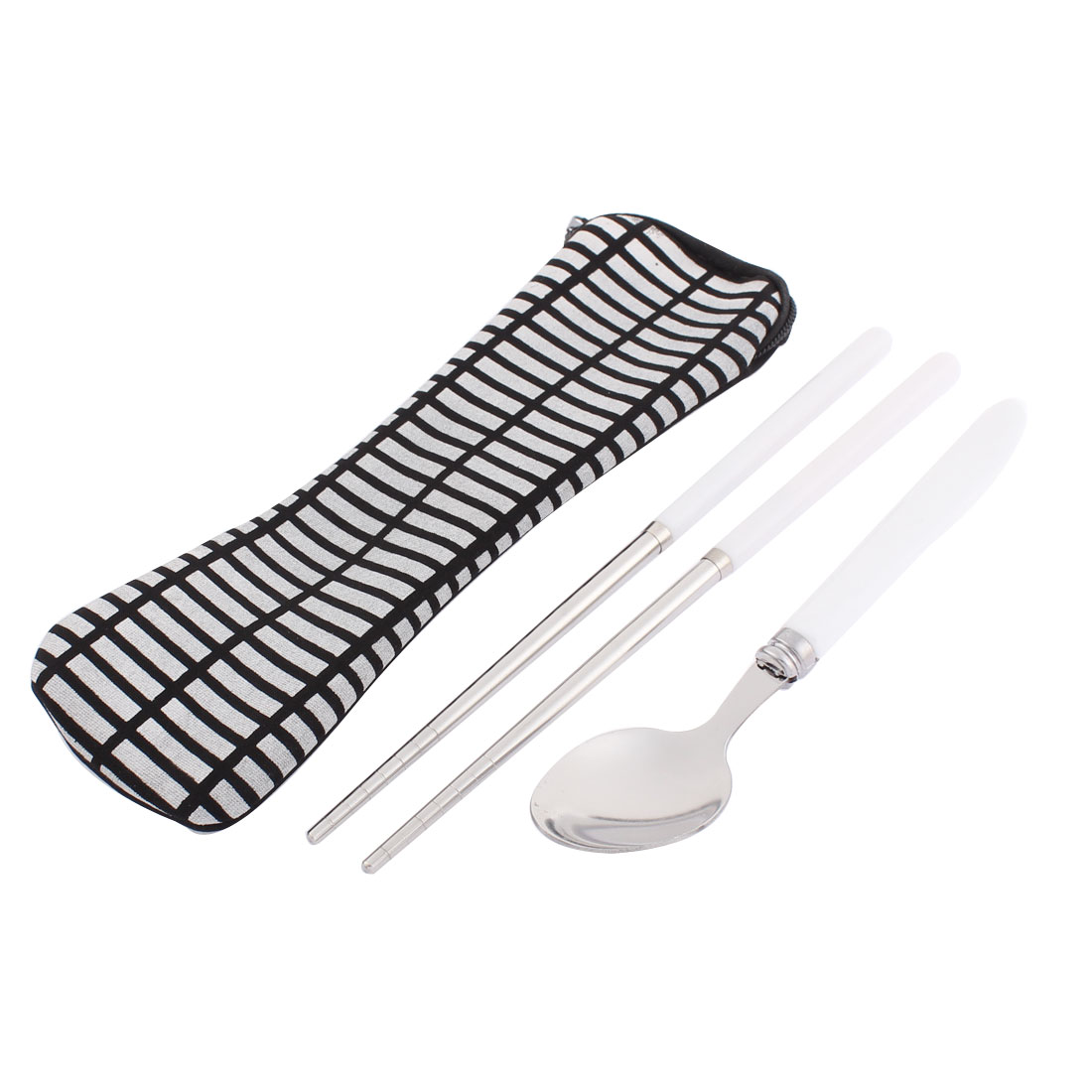 Travel Portable Plastic Handle Lunch Spoon Chopsticks Tableware 2 in 1 w Bag