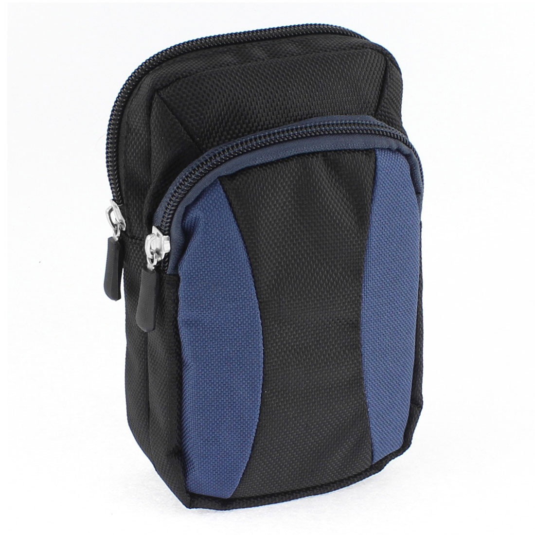 Outdoor Travel Zipper Closure Coin Phone Holder Waist Belt Pack Bag Wallet Blue Black