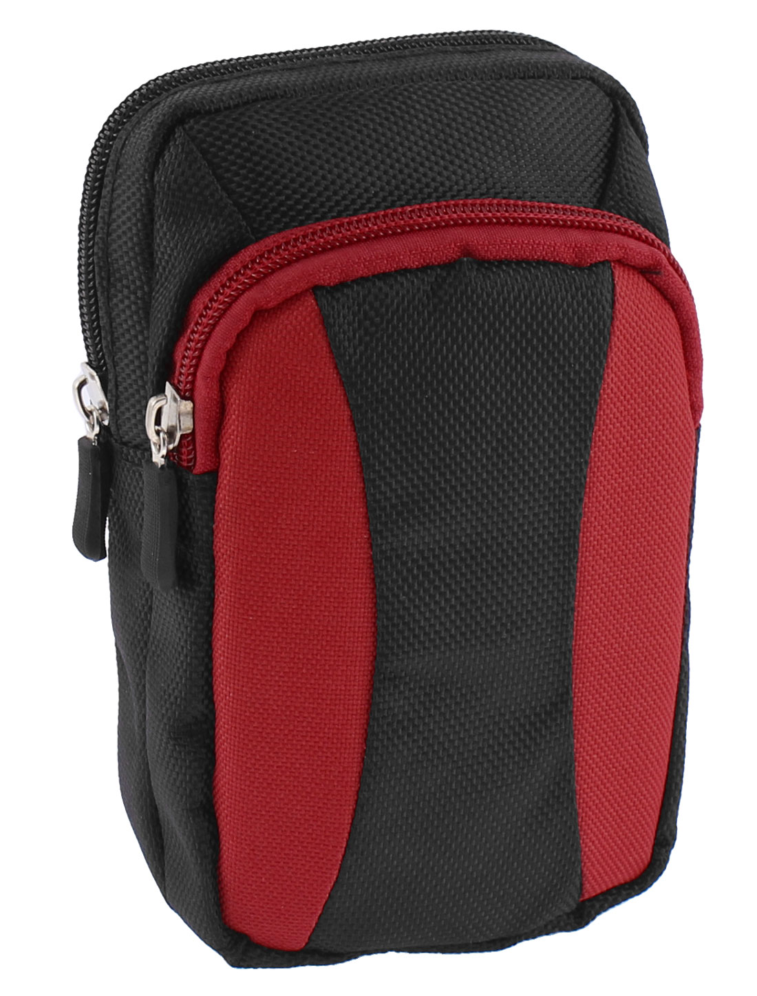 Outdoor Travel Zipper Closure Coin Phone Holder Waist Belt Pack Bag Wallet Red Black