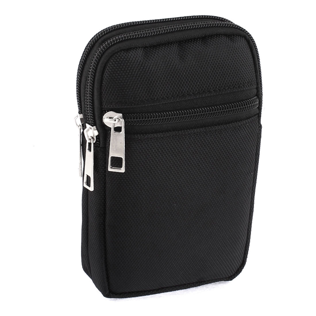 Man Zippered Coin Phone Cards Holder Waist Belt Pack Bag Wallet Black