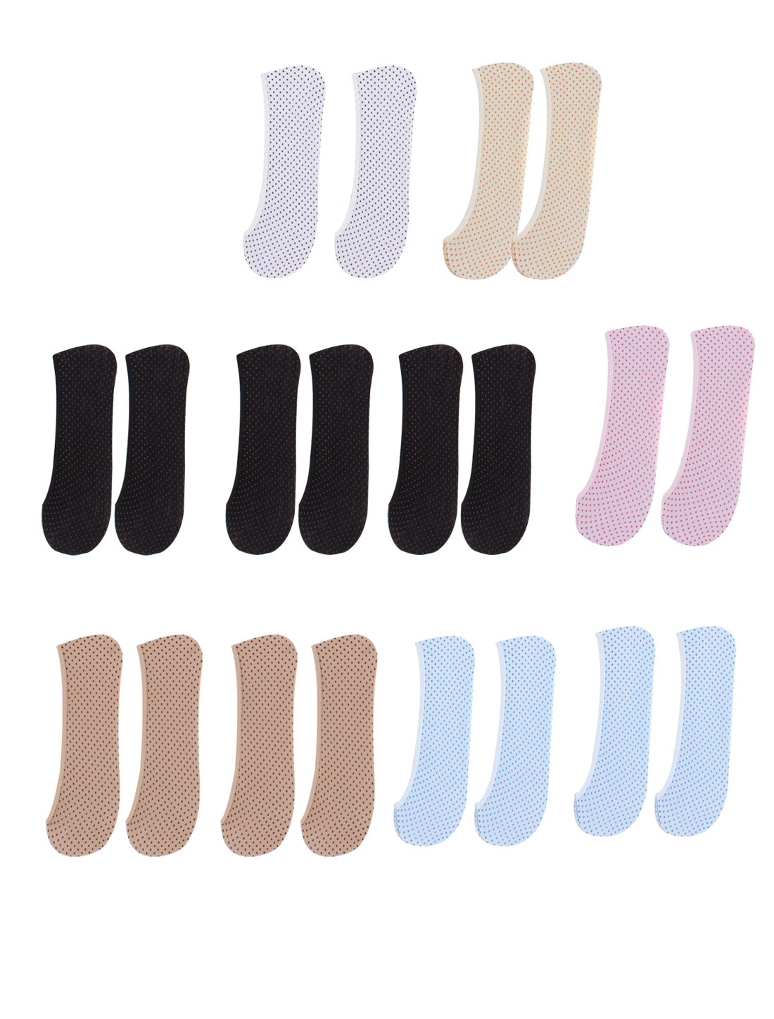 Lady Dots Printed Elastic Invisible Ankle Boat Socks 10 Pairs