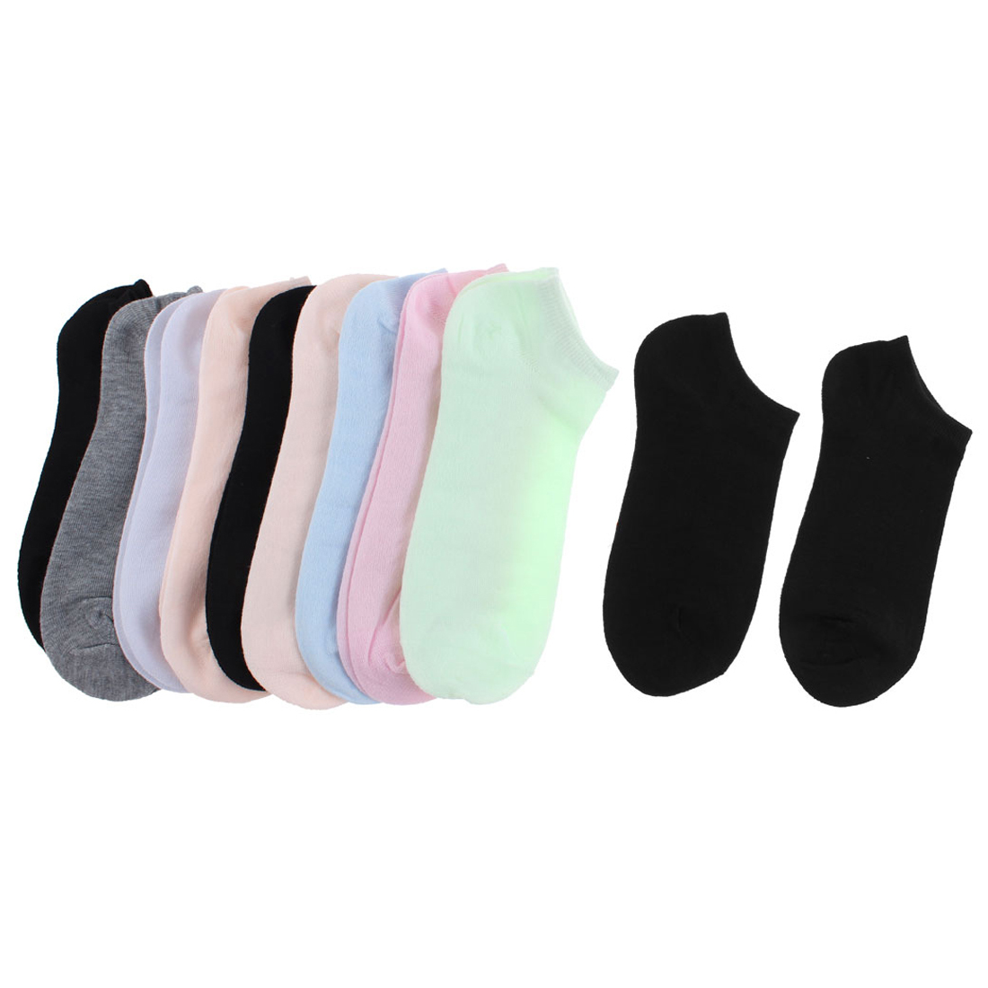 Woman Cotton Blends Elastic Low Cut Sports Casual Ankle Socks Multicolor 10 Pairs