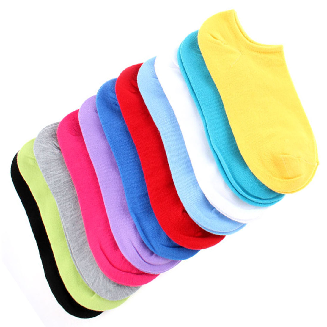 Woman Cotton Blends Elastic Cuff Casual Ankle Socks Multicolor 12 Pairs
