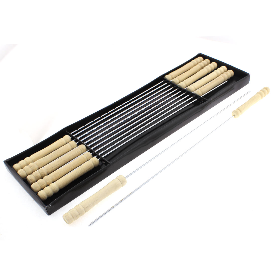 Outdoor Wooden Handle Metal Shaft BBQ Skewers Barbecue Tool Stick 12 Pcs