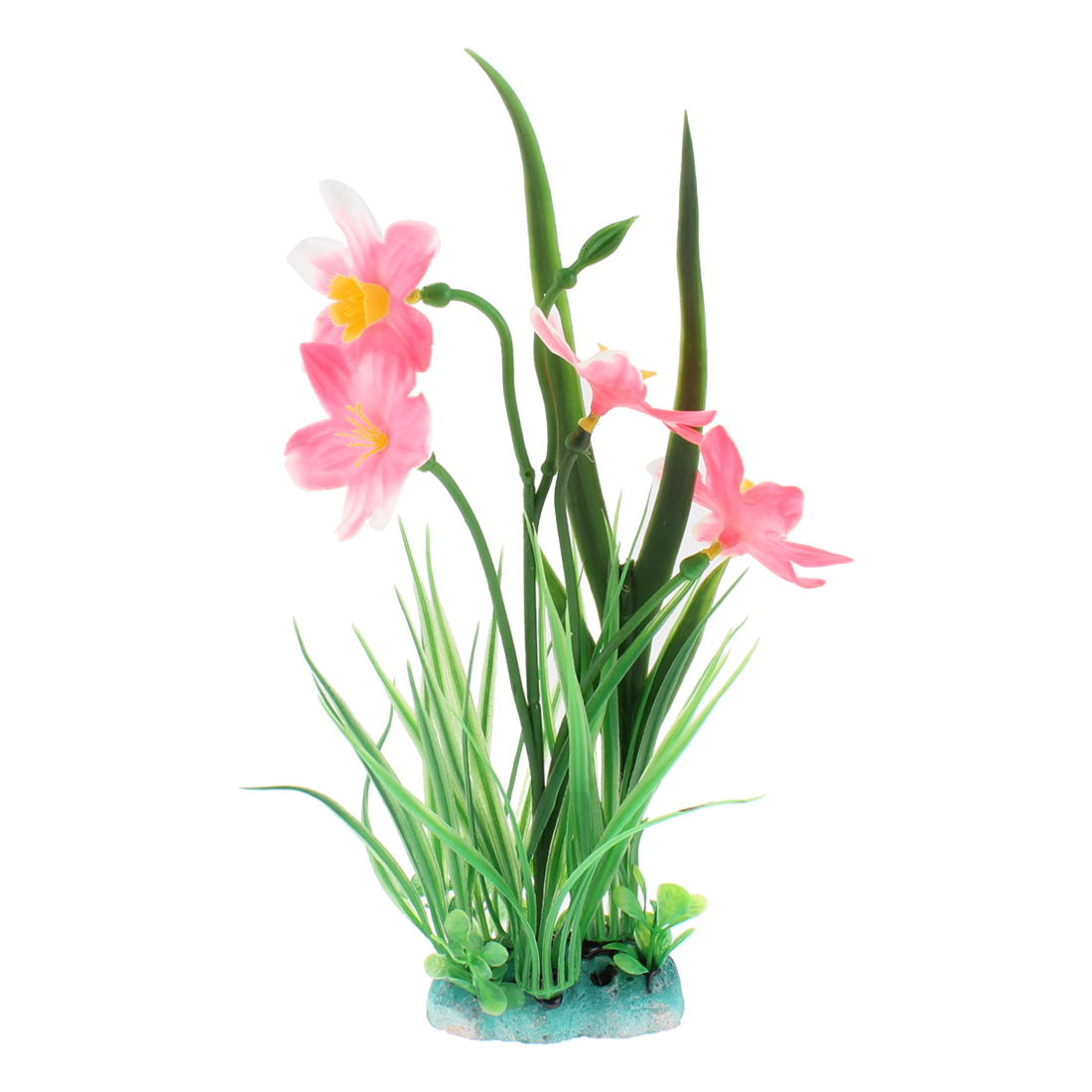 Aquarium Plastic Manmade Flower Grass Plant Landscaping Pink Green