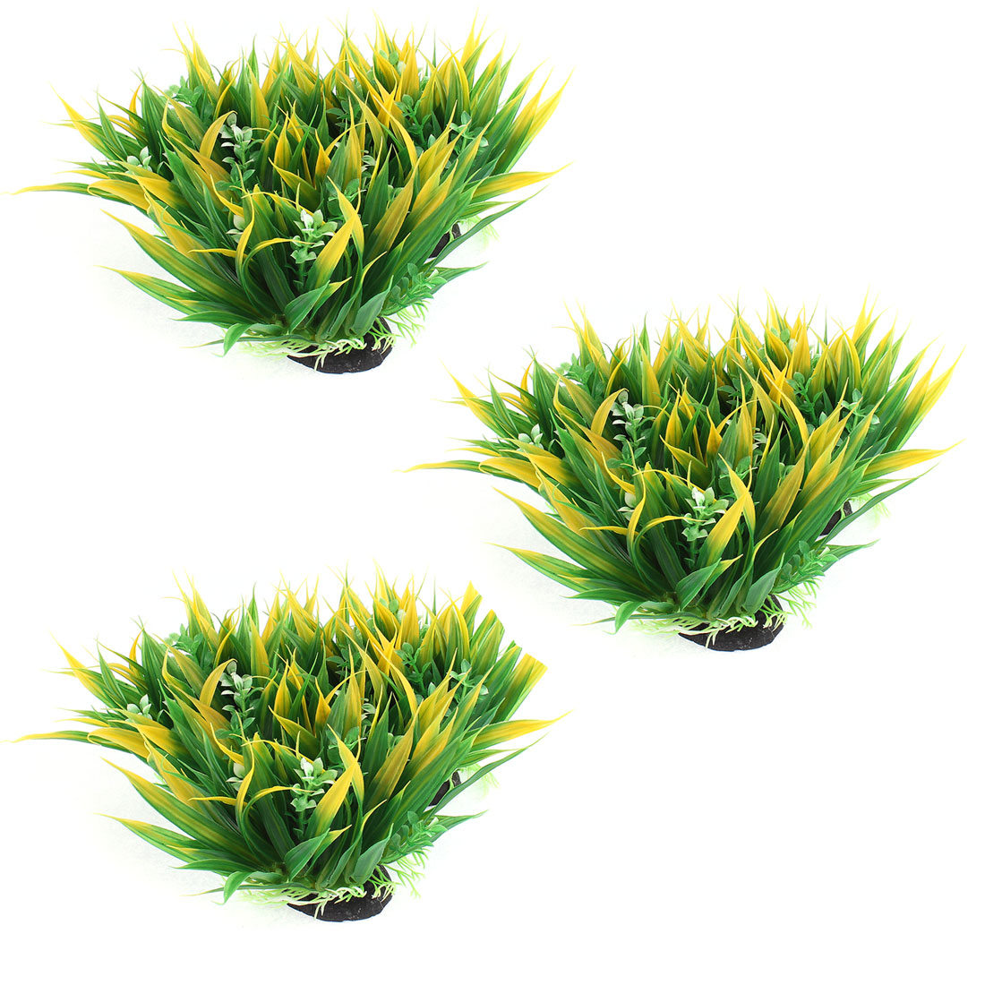 Fishtank Aquarium Ceramic Base Manmade Plant Grass Yellow Green 3pcs