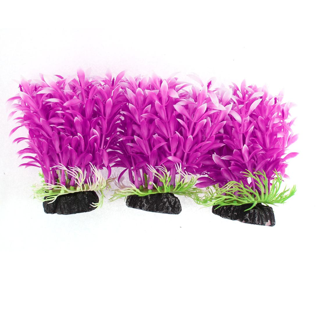 Fishbowl Aquarium Plastic Imitated Grass Plants Purple 12 x 11cm 3pcs