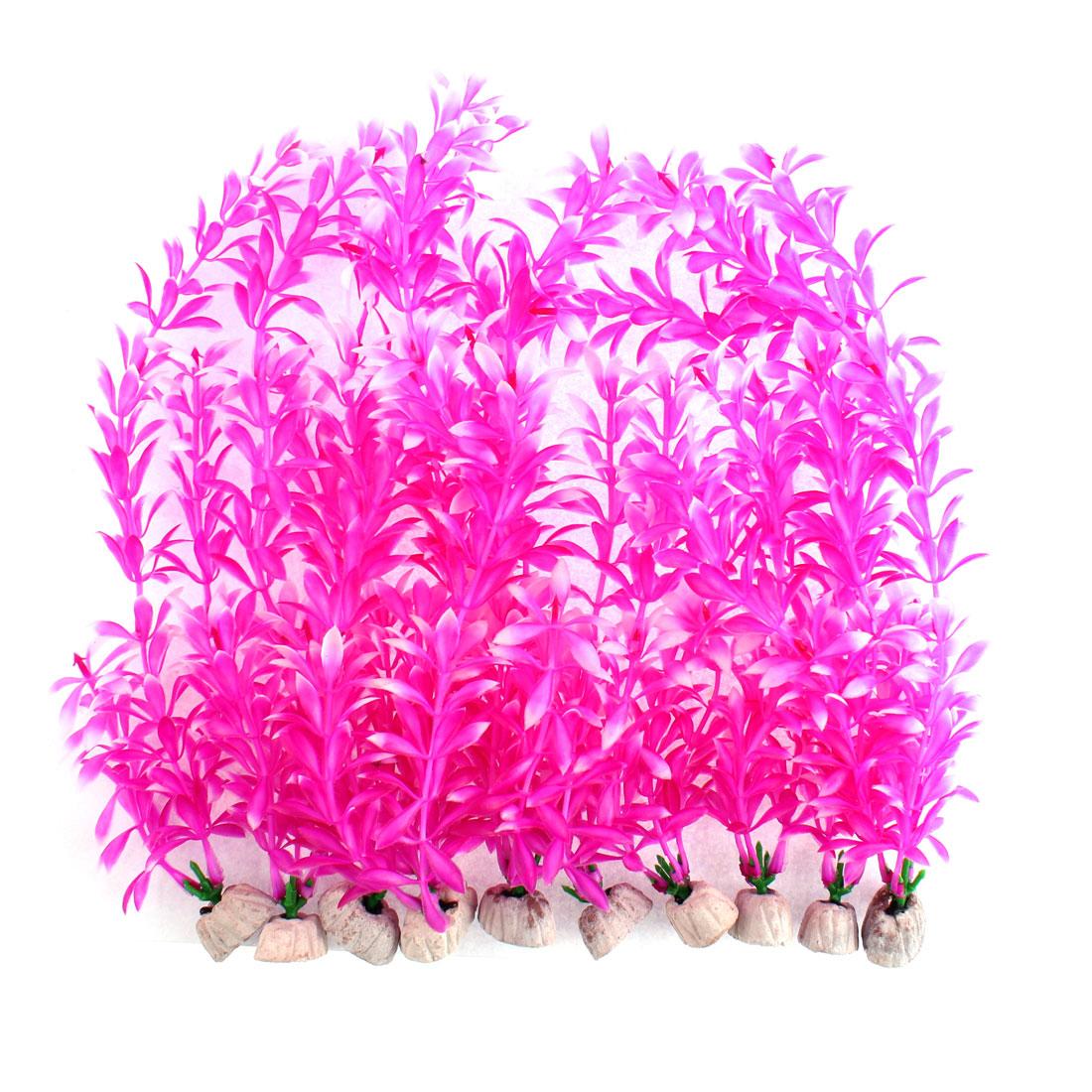 Aquarium Plastic Artificial Underwater Plant Grass Decor Purple 29cm Heigt 10pcs